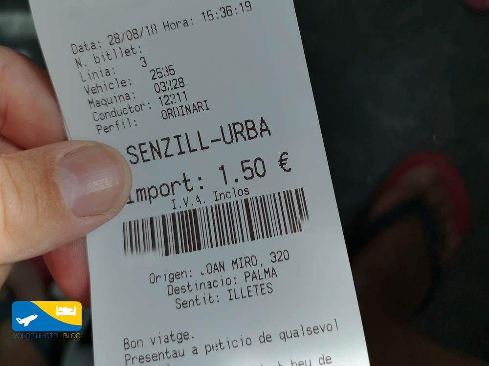 Biglietto bus Ses Illetes Palma