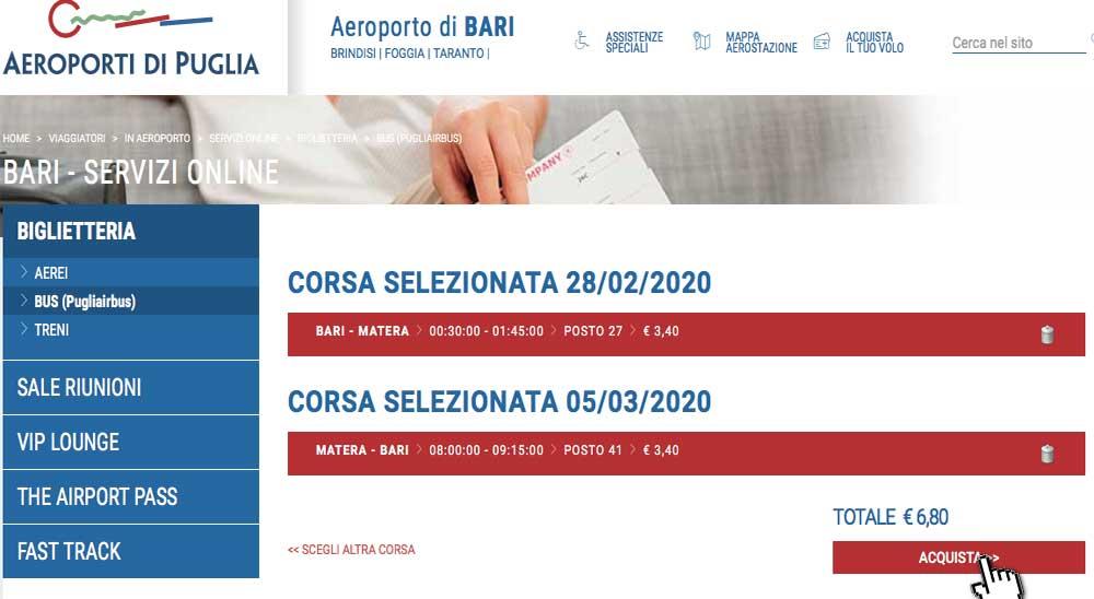 Bus da aeroporto Bari a Matera