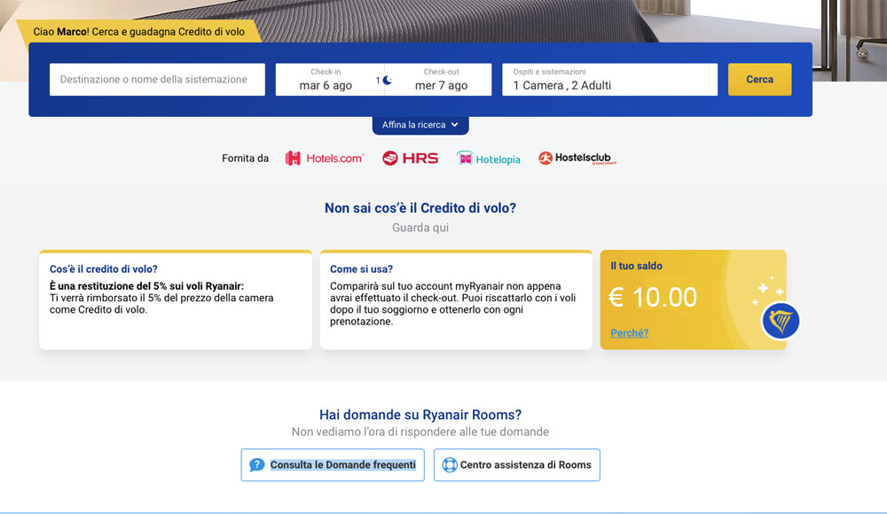 Tutorial sul Ryanair Rooms