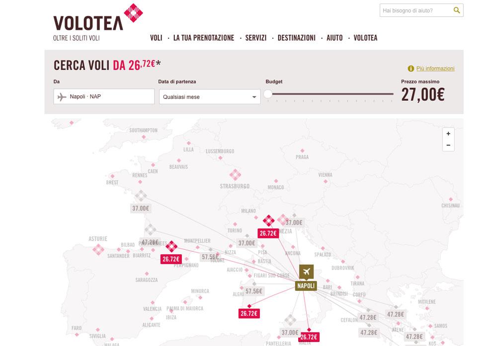 Voli low cost Volotea Mappa